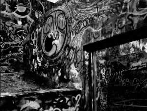 Graffiti on a concrete structure. Photo credit: Gabino Iglesias.